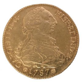 SPAIN  8 ESCUDOS 1787 CM MINT:SEVILLA(S) CARLOSⅢ 1760 – 1788