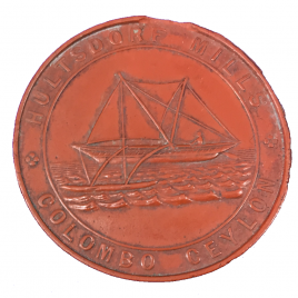 CEYLON COLOMBO  25 CENTS N.D.(1872) RED VULCANITE Obv:G&WL Rev:CATARAMAN 4.56gm 35mm PRIDMORE 65