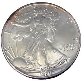 U.S.A  1 DOLLAR 1990 1 OZ SILVER AMERICAN EAGLE