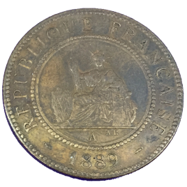 FRENCH INDO – CHINA  1 CENT 1889 (A) MINT:PARIS SEATED LIBERTY  P/L
