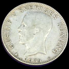 SWEDEN  1 KRONA 1939 (G) GUSTAFⅤ 1907 – 1950