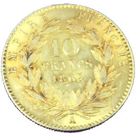 FRANCE  10 FRANCS 1867(A) NAPOLEON Ⅲ LAUREATE HEAD 1852 – 1870 FR586.