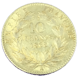 FRANCE  10 FRANCS 1868(A) NAPOLEON Ⅲ KAUREATE HEAD 1852 – 1870 FR586.
