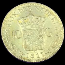 NETHERLANDS  10 GULDEN 1917 WILHELMINA Ⅰ 1890 – 1948 FR349