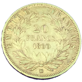France  20 Francs 1860(bb) Napoleon Ⅲ (1852 – 1870) KM781.