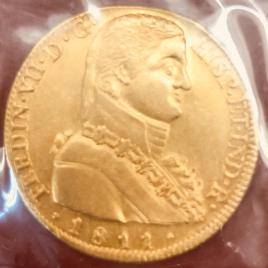 CHILE 8E SCUDOS 1811 F.J. MINT:SAMTIAGO(S) FERNANDO VII IMAGINARY MILITARYBUST