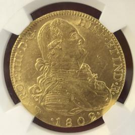 COLOMBIA FR51. KM62.1 8ESCUDOS 1802JS NR CARLOSⅢ(1788-1808) INO-129 BTAVSKWLC PLKTAMSIWEA  AU/UNC