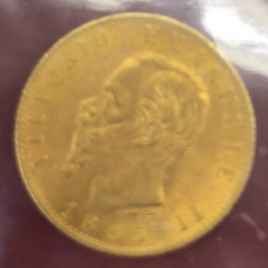 ITALY KINGDOM  20LIRE 1865  VITTORIO EMANUELEⅡ (1861-1878)  FR11 KM10.1 EF