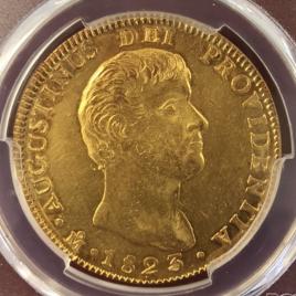 MEXICO 8ESCUDOS 1823.MO JM AUGUSTIN ITURBIDEⅠ (1822-1823) KM314 FR60 -EF
