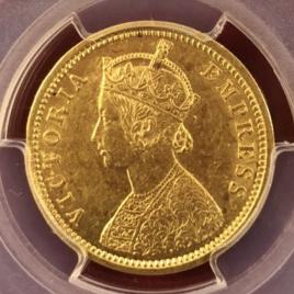 BRITISH INDDIA FR1604. KM496 1MOHUR 1885 VICTORIA EMPRESS NHO45 SJOXWHC  EF