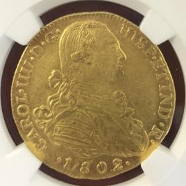 COLOMBIA  8ESCUDOA 1802NR JJ  CAROLⅢ (1788-1808)  KM62.1 FR51 -UNC