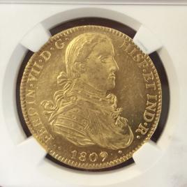 MEXICO  8ESCUDOS 1809 FERDINANDⅦ(1808-1822) MD172 KNXIEWLE PLKDNIWFC  EF+/UNC