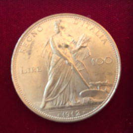 ITALY KINGDOM 100 LIRE 1912(R) VITTORIO EMANUELEⅢ 1900-1946 MINTAGE:4946psc FR26. KM50 AU/UNC