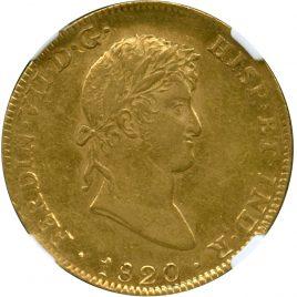 Mexico Ferdinad VII (1808-1824) 8Escudos 1820JJ Fr52 KM161 NGC AU55 (-EF)