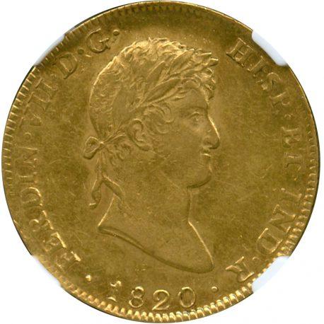 162.メキシコ フェルディナンド7世 (1808-1824) 8エスクード金貨 1820JJ Fr52 KM161 NGC AU55 (-EF) obv