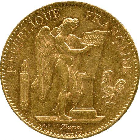 1003.フランス 第3共和国 100フラン金貨 1907A Gad1137 Fr590 KM858 エンジェル立像 -EF obv