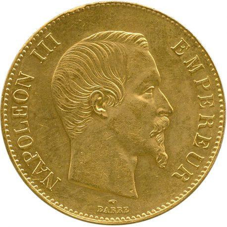 1001.フランス ナポレオン3世(1852-1870) 100フラン金貨 1858A Fr569 KM786.1 無冠 -EF obv