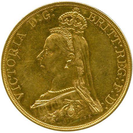 1004.イギリス ヴィクトリア (1837-1901) 5ポンド金貨 1887 Spink3864 Fr390 KM769 ジュビリーヘッド -EF obv