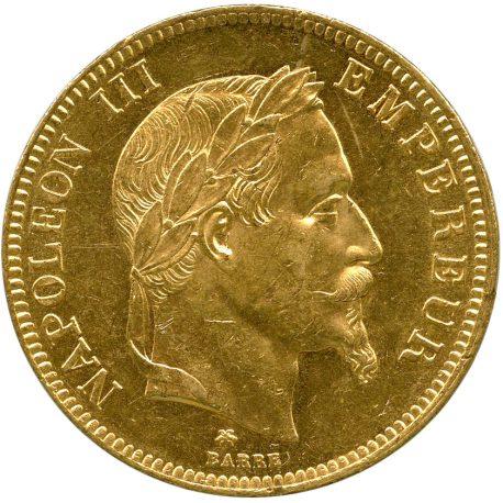 1002.フランス ナポレオン3世(1852-1870) 100フラン金貨 1866A Fr580 KM802.1 月桂冠 EF obv