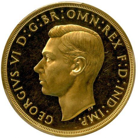 206.イギリス ジョージ6世(1936-1952) 5ポンド金貨 1937 Spink4074 Fr409 KM861 PCGS PR63CAM (Proof UNC) obv