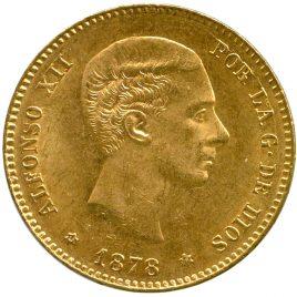 Soain Alfonso XII 25Pesetas 1878 EM Fr342 KM673 AU/UNC