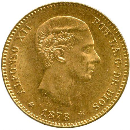 21.スペインアルフォンソ12世 25ペセタ金貨 1878 EM Fr342 KM673 AU UNC obv