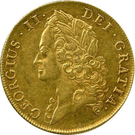 101.イギリス ジョージ2世 (1727-1760) 2ギニー金貨 オールドタイプ 1740 Spink3668 Fr337 KM578 -EF obv