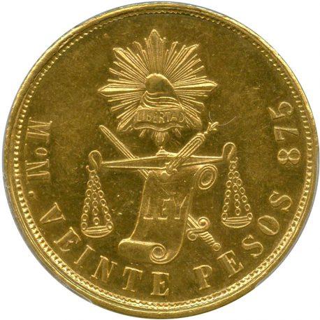 1007.メキシコ 20ペソ金貨 1872 Mo M Mint Mexico City Fr119 KM414.6 PCGS MS62(AU) obv