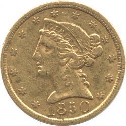 アメリカ 5ドル金貨 1850(C) シャーロットミント コロネットヘッド