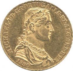 ポルトガル 6400レイス金貨 1830 ミゲル1世(1828-1834) 極美品+