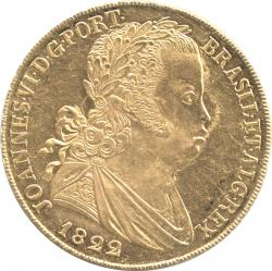 ポルトガル 6400レイス(ペカ)金貨 1822 ジョアン6世(1799-1826) 極美品+~未使用