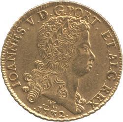 ブラジル 12800レイス金貨 1723(M) ポルトガル王ジョアン5世(1706-1750) 極美品