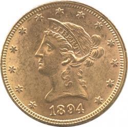 アメリカ 10ドル金貨 1894 フィラデルフィアミント 女神頭像 極美品