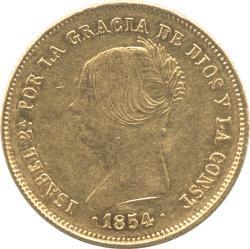 スペイン 100レアル金貨 1854 イザベラ2世(1833-1868) 八頂星タイプ 極美品