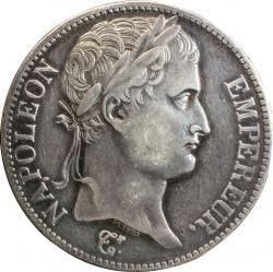 【影打ち】 フランス 5フラン銀貨 N.D. ナポレオン1世(1804-1814)