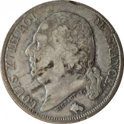 【影打ち】 フランス 1フラン銀貨 N.D. ルイ18世(1814-1824)