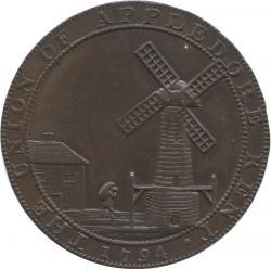 イギリス ケント州 アップルドア 1/2ペニー銅貨(トークン) 1794 風車・ライオンと子羊 極美品