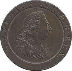 イギリス 1ペニー銅貨 1797 ジョージ3世(1760-1820)車輪銭 極美品+