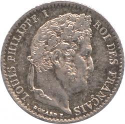 フランス 1/4フラン銀貨 1833(A) ルイ・フィリップ(1830-1848) プルーフライク・トーン・未使用品