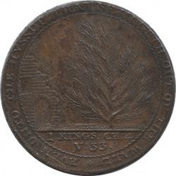 イギリス サマセット・バース 1ペニー銅貨(トークン) 1794 植物園 ハーフペニーのダイで作った厚手型ペニー銅貨 極美品