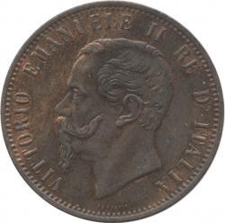 イタリア王国 10センテシミ銅貨 1866(N) ヴィットリオ・エマヌエル2世(1861-1878)
