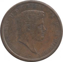 イタリア ナポリ&シシリー 10トルネーシ銅貨 1840  フェルディナンド2世(1830-1859) 極美品