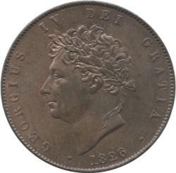 イギリス 1/2ペニー銅貨 1826 ジョージ4世(1820-1830)