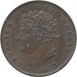 イギリス 1/3ファージング銅貨 1827 ジョージ4世(1820-1830)