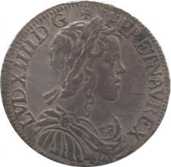 フランス 1/2エキュー銀貨 1655(I) ルイ14世(1643-1715)