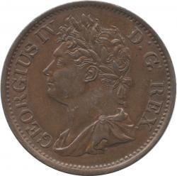 アイルランド 1/2ペニー銅貨 1823 ジョージ4世(1820-1830) 極美品+