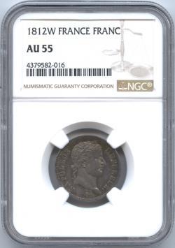 フランス 1フラン銀貨 1812 ナポレオン1世(1804-1814) NGC-AU55 極美品