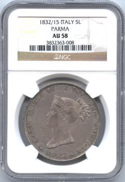 イタリア パルマ 5リレ銀貨 1832 マリー・ルイーズ(1815-1847) NGC-AU58 トーン・極美品+