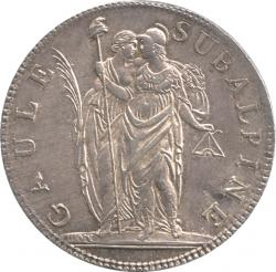 イタリア スバルピネ共和国 5フラン銀貨 L'AN10 (1902) トーン・極美品