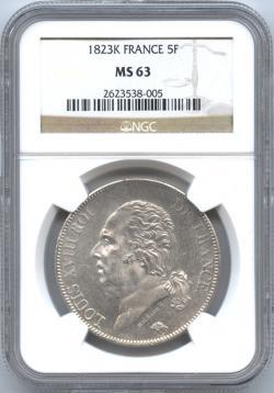 フランス 5フラン銀貨 1823(K) ルイ18世(1814・1815-1824) NGC-MS63